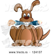Cartoon Vector of Dog Holding a Mail Mans Arm by Paulo Resende