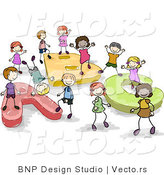 Cartoon Vector of Doodled Children Playing on ABC Text by BNP Design Studio