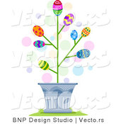 Cartoon Vector of Easter Eggs Blossoming in a Tree by BNP Design Studio