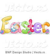 Cartoon Vector of Easter Font with Eggs and Baby by BNP Design Studio