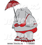 Cartoon Vector of Elephant in a Red Bikini, Holding an Umbrella by Djart