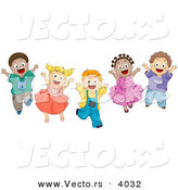 Cartoon Vector of Energetic Diverse Children Happily Jumping up and down by BNP Design Studio