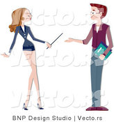 Cartoon Vector of Female and Male Teacher Talking by BNP Design Studio