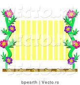 Cartoon Vector of Floral Frame with Yellow Stripes Background by Bpearth