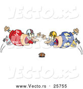 Cartoon Vector of Football Players Diving Towards the Ball by Toonaday