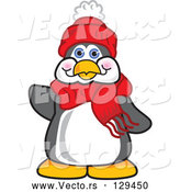Cartoon Vector of Friendly Penguin Mascot Character Waving Hello by Toons4Biz