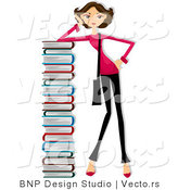 Cartoon Vector of Girl Leaning Against Tall Stack of School Books by BNP Design Studio