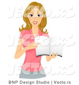 Cartoon Vector of Girl Pointing at Page Within Blank Book by BNP Design Studio