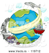 Cartoon Vector of Globe with a Train Ship and Airplane by BNP Design Studio