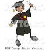 Cartoon Vector of Graduating Stick Boy Wearing Cap and Gown While Holding out His Certificate by BNP Design Studio