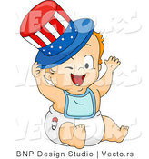Cartoon Vector of Happy American Baby Wearing Red White and Blue Top Hat by BNP Design Studio