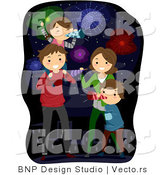 Cartoon Vector of Happy American Family Celebrating New Years or 4th of July by BNP Design Studio
