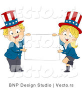 Cartoon Vector of Happy American Kids Holding a Blank Sign by BNP Design Studio