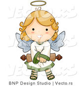 Cartoon Vector of Happy Angel Girl Holding Scroll by BNP Design Studio
