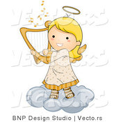 Cartoon Vector of Happy Angel Girl Playing Harp on a Cloud by BNP Design Studio