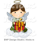 Cartoon Vector of Happy Angel Sitting on Cloud with Present by BNP Design Studio