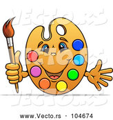 Cartoon Vector of Happy Art Palette Mascot with Paints and a Brush by Vector Tradition SM
