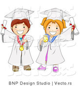 Cartoon Vector of Happy Boy and Girl Graduating by BNP Design Studio