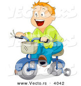 Cartoon Vector of Happy Boy Riding Bicycle with Training Wheels by BNP Design Studio
