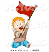 Cartoon Vector of Happy Boy Running with Red Flag by BNP Design Studio