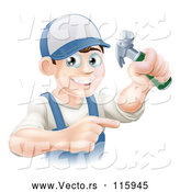 Cartoon Vector of Happy Brunette Caucasian Worker Man Holding a Hammer and Pointing by AtStockIllustration