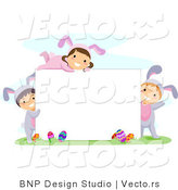 Cartoon Vector of Happy Children Surrounding a Blank Sign on Easter by BNP Design Studio