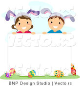Cartoon Vector of Happy Children Wearing Bunny Ears Behind a Blank Sign by BNP Design Studio