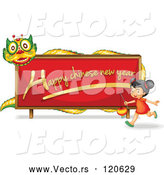 Cartoon Vector of Happy Chinese New Year Dragon Sign and Girl by Graphics RF