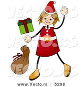 Cartoon Vector of Happy Christmas Girl Waving by BNP Design Studio