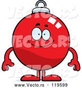 Cartoon Vector of Happy Christmas Ornament Mascot by Cory Thoman