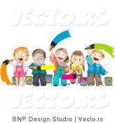 Cartoon Vector of Happy Diverse Kids Painting Together by BNP Design Studio