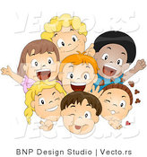 Cartoon Vector of Happy Diverse Kids Smiling and Waving Together As a Group by BNP Design Studio