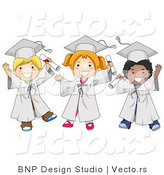 Cartoon Vector of Happy Diverse School Kids Wearing Graduation Caps and Gowns by BNP Design Studio