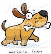 Cartoon Vector of Happy Dog Strutting with a Bone by Cory Thoman