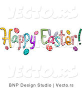 Cartoon Vector of Happy Easter Text by BNP Design Studio