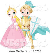 Cartoon Vector of Happy Fairy Tale Fantasy Princess and Knight Flirting by Pushkin