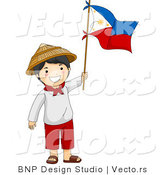 Cartoon Vector of Happy Filipino Independence Day Boy Waving Flag by BNP Design Studio