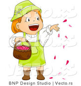 Cartoon Vector of Happy Girl Throwing Red Rose Petals into Air from Basket by BNP Design Studio
