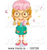 Cartoon Vector of Happy Girl with Music Notes and Headphones by Graphics RF