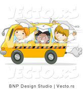 Cartoon Vector of Happy Graduate Kids Riding a Bus for the Last Time by BNP Design Studio