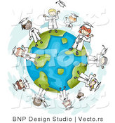 Cartoon Vector of Happy Graduating Kids Standing Around a Globe by BNP Design Studio