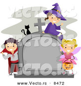 Cartoon Vector of Happy Halloween Kids and a Black Cat Around a Cemetary Tombstone by BNP Design Studio