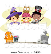 Cartoon Vector of Happy Halloween Kids over a Blank Sign by BNP Design Studio