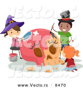 Cartoon Vector of Happy Halloween Kids Painting a Skull Pink by BNP Design Studio