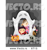 Cartoon Vector of Happy Halloween Kids Peeking Through a Spooky Ghost Border Frame by BNP Design Studio