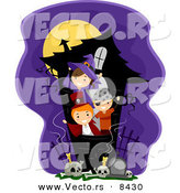 Cartoon Vector of Happy Halloween Kids Playing in a Haunted House by BNP Design Studio