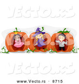 Cartoon Vector of Happy Halloween Kids Playing in Giant Pumpkins by BNP Design Studio