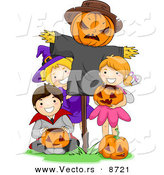 Cartoon Vector of Happy Halloween Kids Posing Beside a Scarecrow by BNP Design Studio