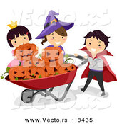 Cartoon Vector of Happy Halloween Kids Putting Jack O'Lanterns in a Wheelbarrow by BNP Design Studio