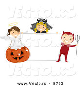 Cartoon Vector of Happy Halloween Kids with a Blank Sign by BNP Design Studio